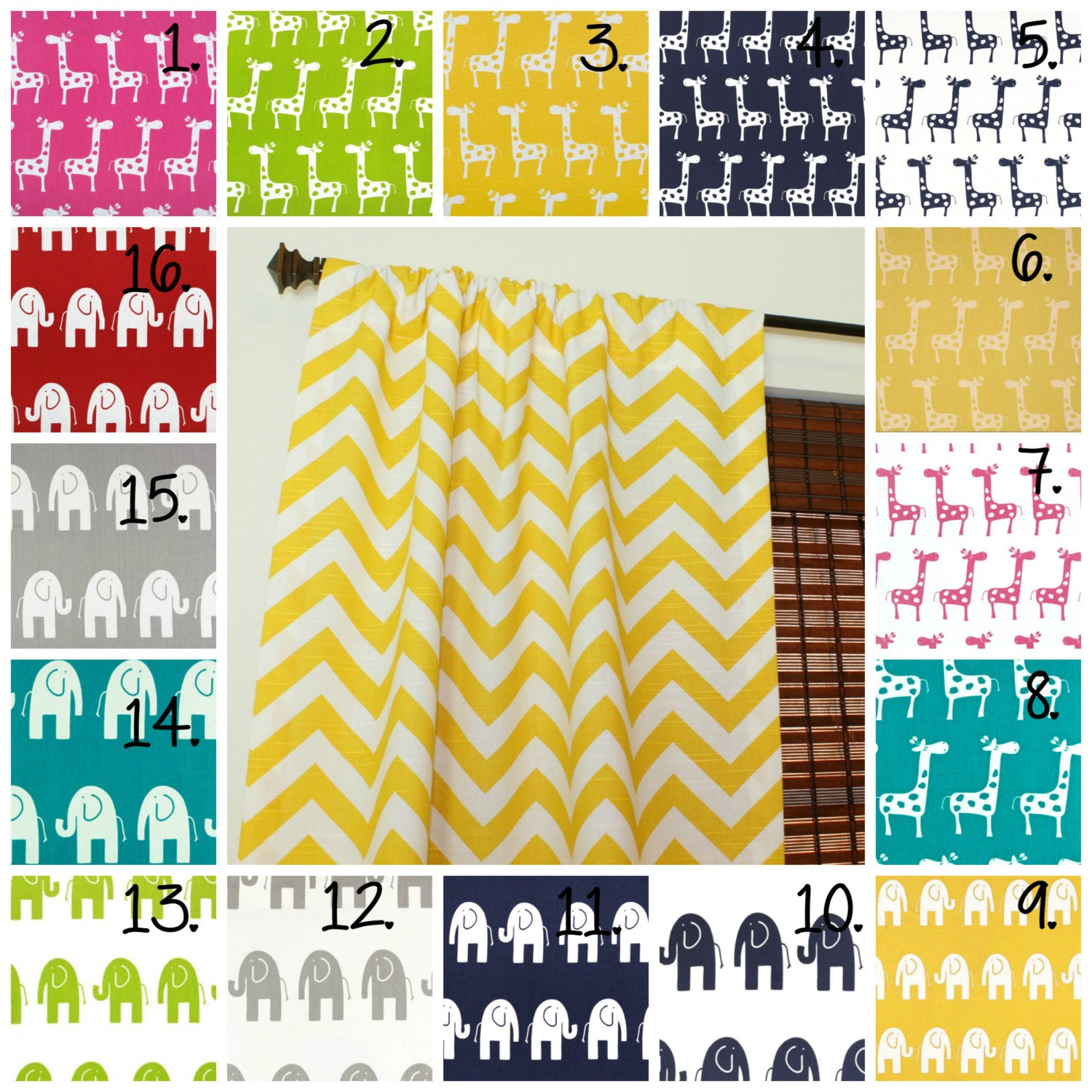 Yellow and gray nursery curtains -  Zoom