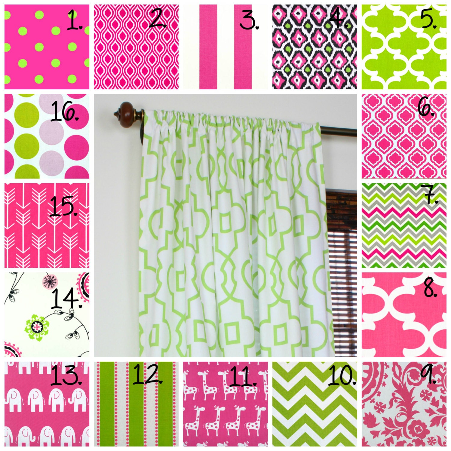Pink and white polka dot curtains - Pink Curtain Panel Set Nursery Curtains Girl Bedroom Curtains Little Girl Curtains Pink And Green Drapes Chevron Curtains Polka Dot Curtains