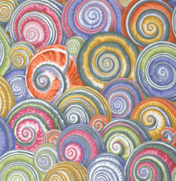 SPIRAL SHELLS GREY by Philip Jacobs for Kaffe Fassett Collective Sold in 1/2 yd increments