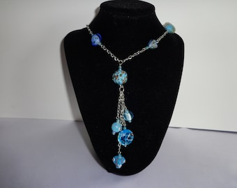 Blue Lampwork Glass Necklace
