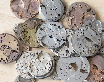 Vintage Watch Movement Plates (Pack of 20) - Perfect for Steampunk Craft/ Jewellery Making