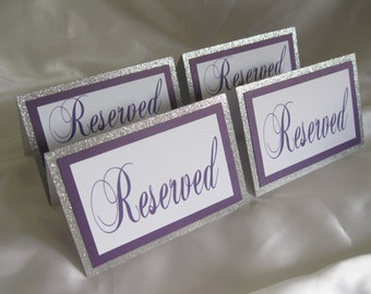 "Silver Glitter ""Reserved"" Tented Table Cards Signs Set of 4 - #719"