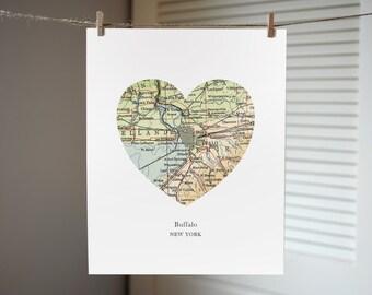 Buffalo New York Map Heart Print, Buffalo Print, Heart Map Print, Hometown Art, Custom Map Art, New York Map Art, Buffalo NY