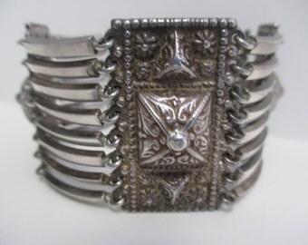 """Vintage Taxco Signed """"Maciel"""" Rare Design Sterling Silver Ornate Bracelet."""