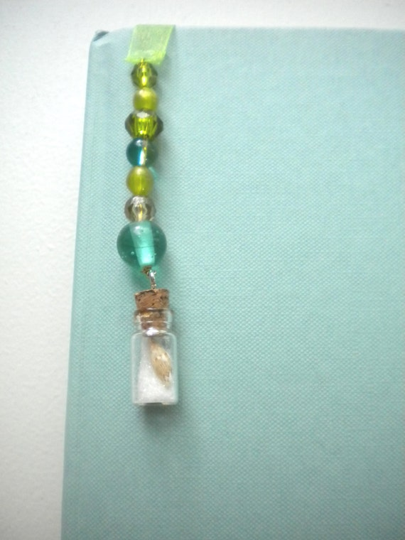 Seashell, Blue Beaded Ribbon Bookmark, Handmade, Original