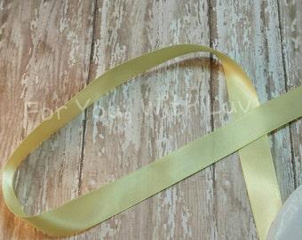 "Pale Yellow 7/8"" Satin Ribbon, 5 yards, craft ribbon, bow making supplies"