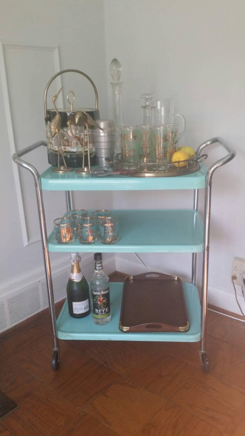 Vintage Metal Kitchen Cart Vintage Bar Cart Turquoise Metal Industrial Trolley Mid