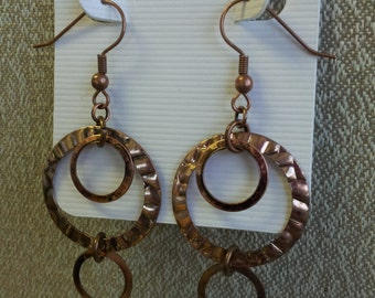 Hammered Circle Antique Copper Dangle Earrings