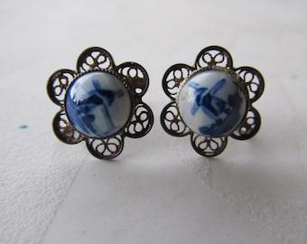 Sale Delft FiligreeSilver and Porcelain Screw Back Earrings
