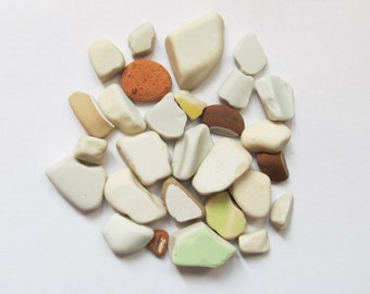 Small Beach pottery - 28 pieces - small sea pottery beach finds, mosaic supply supplies, sea finds, mixed media supply (SP-6)