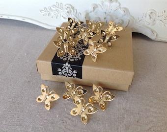 Cork board pins - thumbtack set - bulletin board pins - push pins - gold butterfly