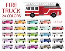 24 Fire Truck Clipart, Colorful Rainbow Color Clip Art, PNG, Printable Supplies, Instant download, by NedtiDesigns
