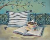 "Teacup Painting Art Print - Aqua Teal Decor - ""The Escape"""