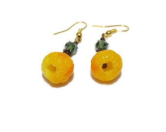 Berry earrings yellow raspberries, polymer clay jewelry,