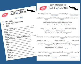 Instant Download - Leave A Note For The Bride and Groom - Modern Wedding Mad Libs - LILAC