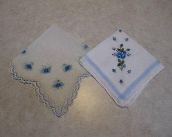 Set of Two Vintage Ladies Handkerchiefs