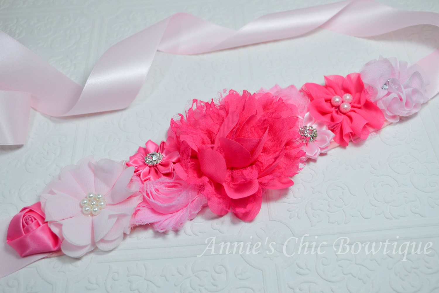 big sale maternity sash pink baby shower by annieschicbowtique
