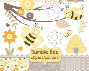 Bumble Bee clipart and digital paper pack , yellow flowerbackground, honeycomb patterns, digital paper scrapbooking, cards, orange, grey