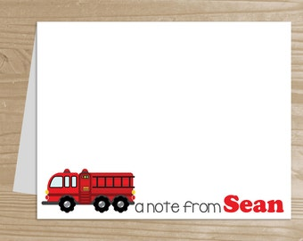 Personalized Kids' Note Cards - Set of 10 Fire Engine Notecards for Boys - Folded Note Cards with Envelopes - Custom Fire Truck Notecards
