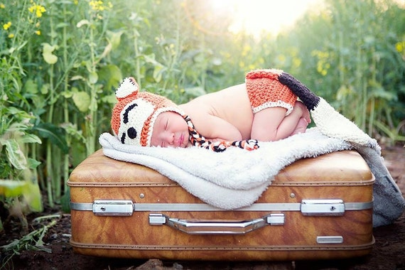Baby Fox Outfit, Newborn Fox Outfit, Fox Hat and Diaper Cover, Newborn Halloween Costume, Fox Tail, Newborn Fox Set, Sleepy Fox