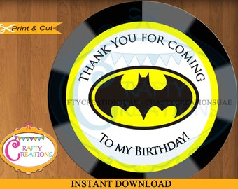 Batman Favor Tags -Super Heros - Sticker- Party Tags- Thank You Tags- Gift Tags- Birthday - Printable- INSTANT DOWNLOAD - CraftyCrearionsUAE