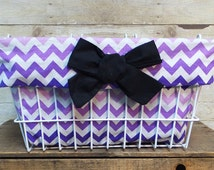 Purple Chevron Teal Bike Basket Liner