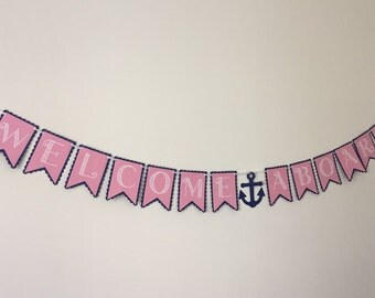 Welcome Aboard Nautical Baby Shower Banner - Nautical Baby Shower - Nautical Banner - Baby Shower Banner