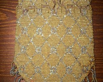 Antique micro beaded purse - 1840s Regency Georgian 19th century french steel