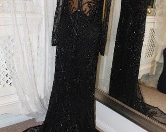 Bob Mackie black beaded red carpet dress