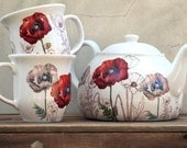Tea Set Teapot and 2 Cups Unique poppy flower and gold