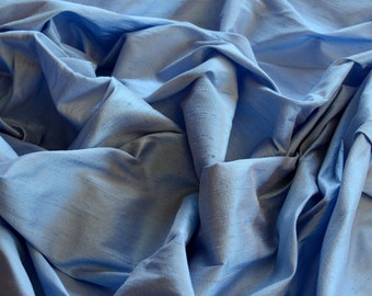 "Iridescent Cornflower Blue Dupioni Silk, 100% Silk Fabric, 44"" Wide, By The Yard (S-207)"