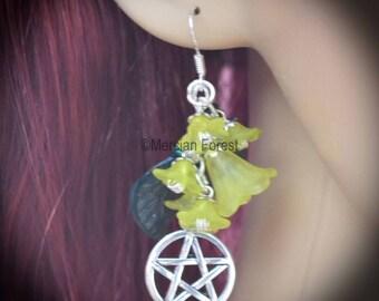 Summer Flowers Pentacle Earrings - Yellow - Pagan Jewellery, Wicca, Solstice