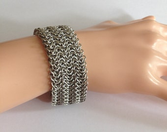 Micromaille Chainmaille Bracelet Cuff - Intricate Bracelet Cuff with Magnetic Clasps