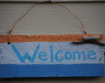 Welcome sign, indoor/outdooe, weathered, reclaimed, eco, rustic, cottage, coastal, nautical, beach, wood, made in the USA