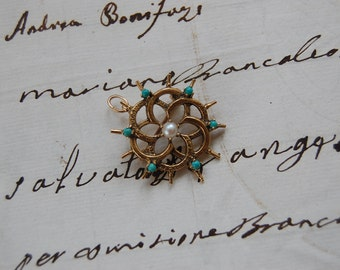 Sale..Victorian 14kt Pin/Pendant w/Turquoise & Pearl