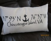 Chincoteague Island beach themed pillow with map coordinates 12x20 inch