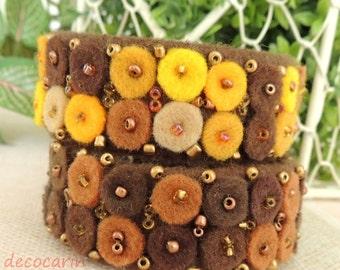 Two Felt Bracelet, Boho Bracelet, Birthday Easter Gift for her, Autumn Bracelet, Felt Wool Cuff Bracelet Jewellery, Boho Jewelry, OOAK