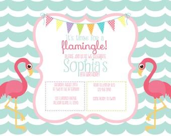 Flamingo Birthday Invitation- Custom Digital File