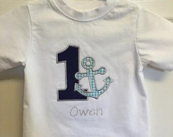 Number 1 Anchor Applique Toddler Tshirt