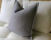 Gray Linen Pillow Cover, Flange Edge Pillow, Grey Pillow, Pillow Sham, Euro Sham, 18 x 18 inch, 20 x 20, 22 x 22, 24 x 24, 26 x 26, 12 x 24