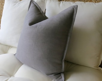 Gray Linen Pillow Cover, Flange Edge Pillow, Grey Pillow, Pillow Sham, Euro Sham, 18 x 18 inch, 20 x 20, 22 x 22, 24 x 24, 26 x 26, 12 x 24