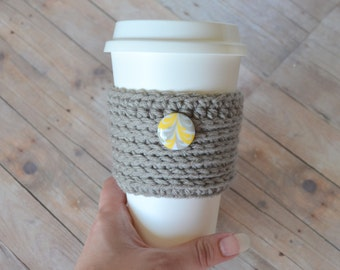 Gray Coffee Cozy, Ready to Ship, Yellow Fleur Button, Crochet Coffee Sleeve, Knit Cup Cozy, Reusable cup sleeve