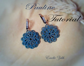 "PDF Tatting Pattern ""Pauline Earrings"" Frivolite jewelry.Instant Download.Tatting pattern"