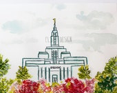 Draper LDS Temple Watercolor Temple 8X10 Print by Elsa Ferre