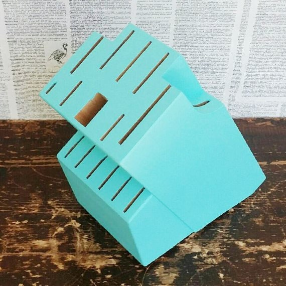 Painted Knife Block: Blue Wooden Knife Block Knife Storage By MuttonHollowCottage