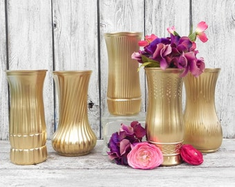 Metallic Gold Vases, Medium Large Vases for Weddings, Parties, Showers, Gold Centerpiece Vases