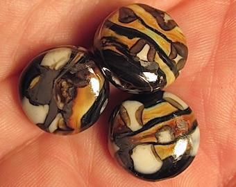 3 Silverglass Lentil Beads
