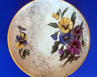 "PANSY PLATE GILDED Hand Painted Ceramic Vintage Signed Purple Blue Yellow Floral Footed Tabletop Hanging Large 12"" Diameter Gold Beaded Rim"