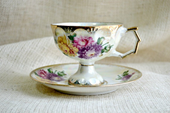 Vintage Iridescent Chrysanthemum Teacup and saucer // Birth month- November// Lusterware Tea Cup saucer- Chrysanthemum