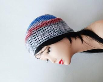 SALE cotton summer beanie crochet hat, womens hats summer